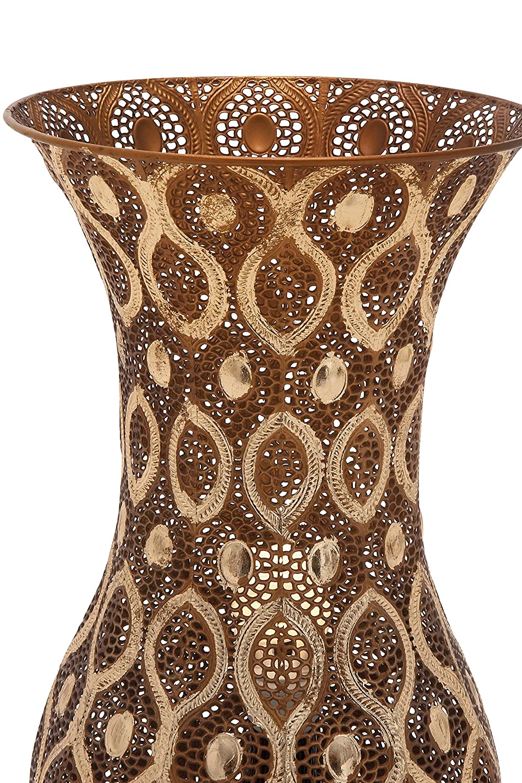 Deco 79 97077 Intricate Designer Metal Vase 9.5 W x 20 H