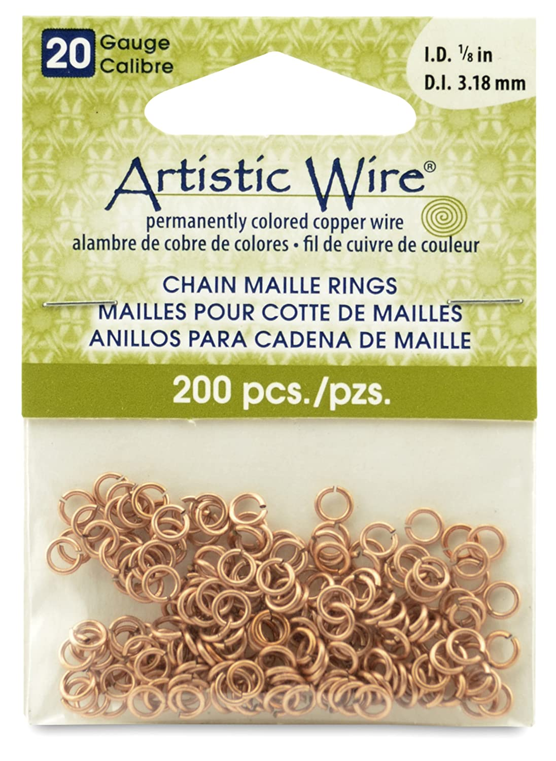 Artistic Wire Beadalon 1/8-inch 200 Piece 20-Gauge Natural Chain Maille Rings A314-20-10-04