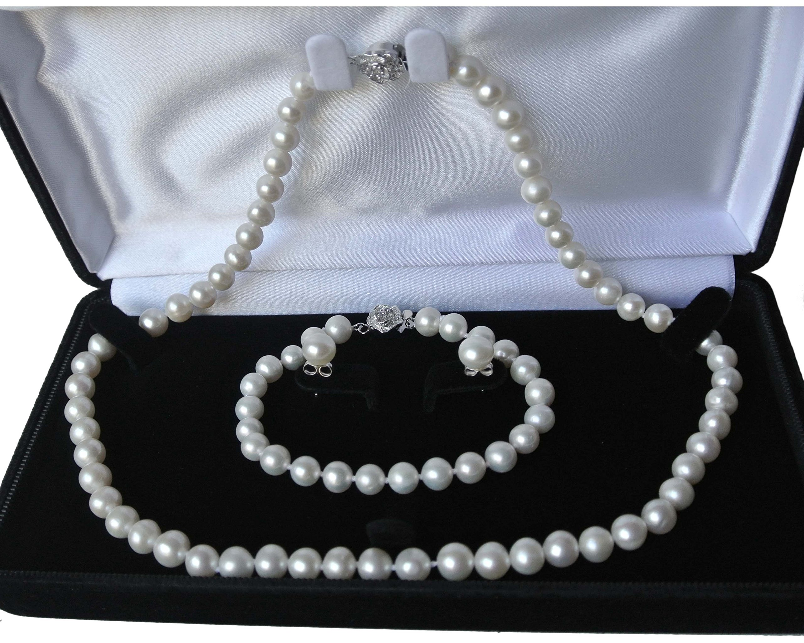 Long 20'' 7.5'' set Genuine 8-9mm ROUND White Strand Pearl Necklace Bracelet Stud Earrings 3pc set Cultured Freshwater