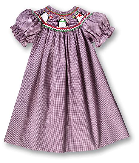 5f6e6bd4bc6cf Amazon.com: Rosalina Girl's Christmas Penguins Berry Red Gingham Smocked Bishop  Dress: Clothing