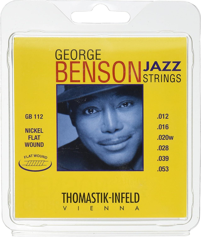 Thomastik Cuerdas para Guitarra Eléctrica George Benson Jazz Guitar juego GB112 Medium Light niquel entorchado plano .012 -.053