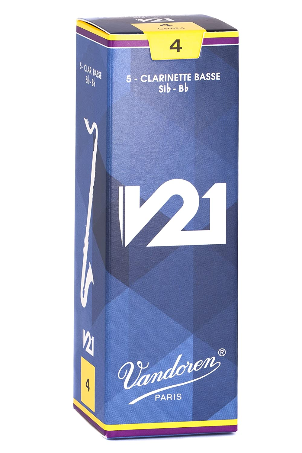 Vandoren CR824 Bass Clarinet V21 Reeds Strength 4, Box of 5 DANSR