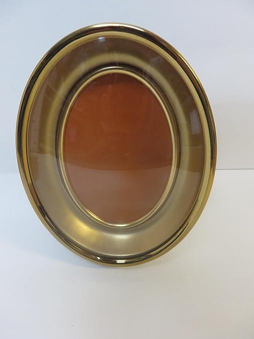 Antique Vintage Gold Metal Oval FRAME w//Convex Bubble Glass