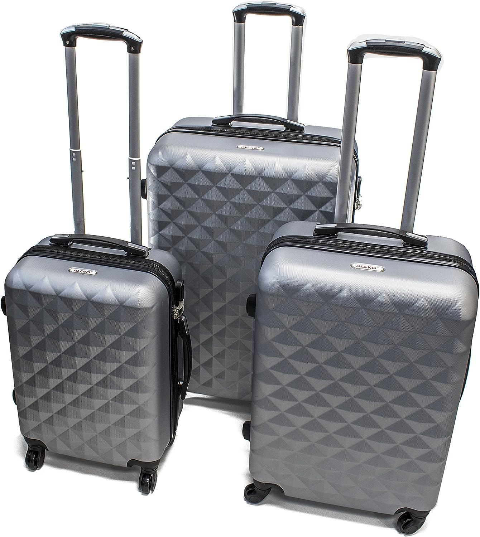 ALEKO LG52SL ABS Suitcase Set Luggage Travel with Lock, 3 Piece, Diamond Pattern, Silver