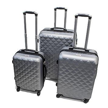 a12164793599 ALEKO LG52SL ABS Suitcase Set Luggage Travel with Lock, 3 Piece, Diamond  Pattern, Silver