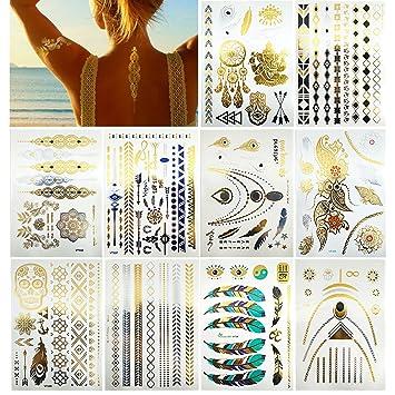 Amazon Com Premium Metallic Tattoos 150 Shimmer Designs In Gold