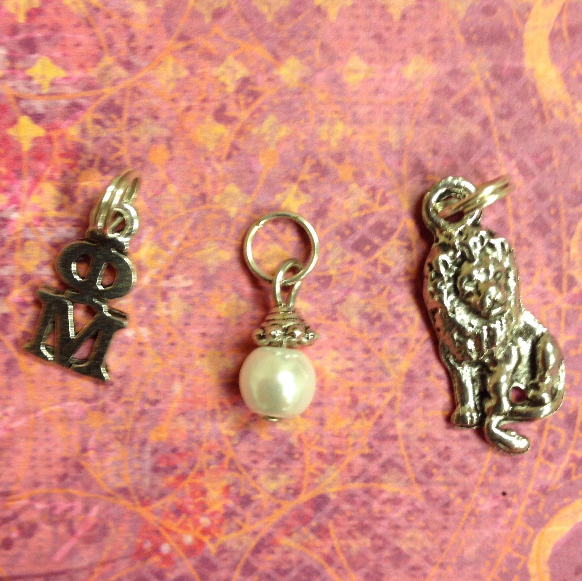 Sorority Greek Phi Mu Essential Trio of Charms - lavaliere, lion, white glass pearl dangle