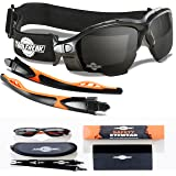 ToolFreak Spoggles - Safety Glasses & Protective Goggles Combination | Premium Dark Tinted Smoke Lens | Foam Padded | Stylish Eye Protection | Anti Scratch | Maximum UV Protection | Suitable For Professional Industry, Sports & Activity (tinted lens)