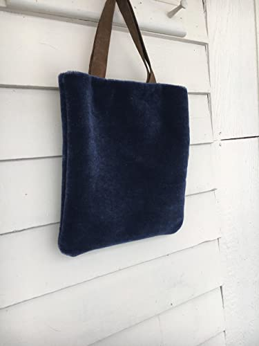 5d48f086e265 Amazon.com  Navy blue faux fur tote with suede straps-Batooli Bags  Handmade