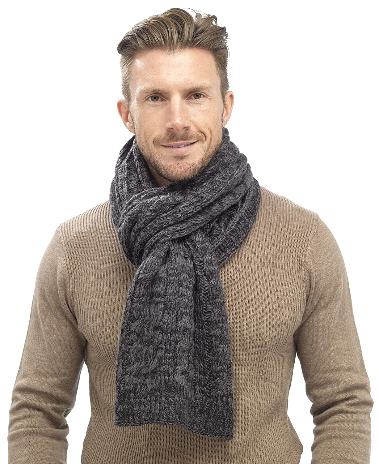 Tom Franks Mens Chunky Cable Knit Scarf Grey: Amazon.co.uk: Clothing