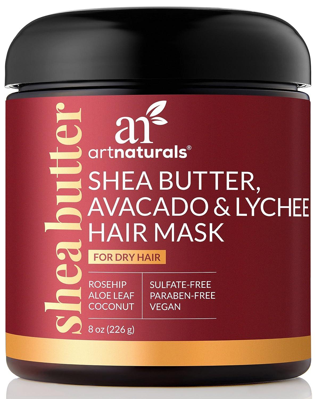 ArtNaturals Shea-Butter Avocado & Lychee Hair-Mask – (8 Oz / 236g) – Moisturizing Silk – Nourishing For Dry & Damaged Hair – Sulfate-Free, Paraben-Free & Cruelty-Free – Coconut, Aloe Vera & Rosehip