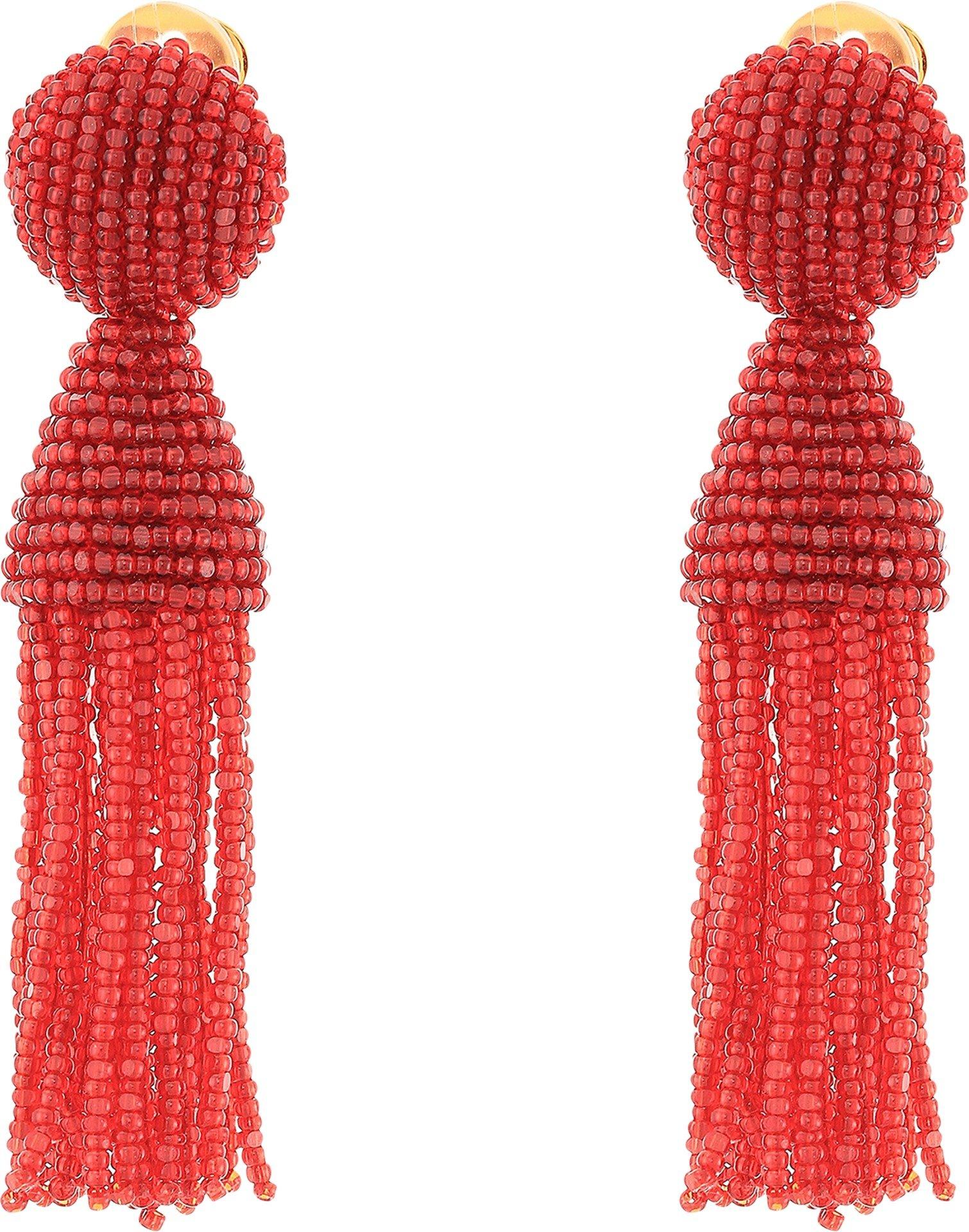 Oscar de la Renta Women's Short Beaded Tassel C Earrings Scarlet One Size