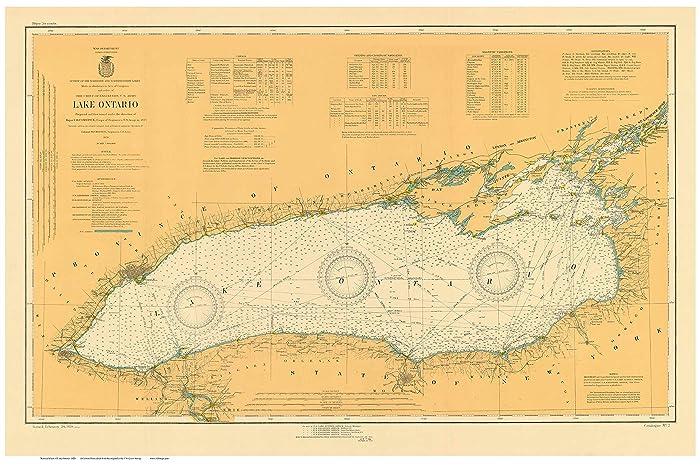 Amazon.com: Lake Ontario 1920 Nautical Map Custom Print ...