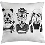 ambesonne animal throw pillow cushion cover hipster panda bear cigar fox and rabbit glasses in
