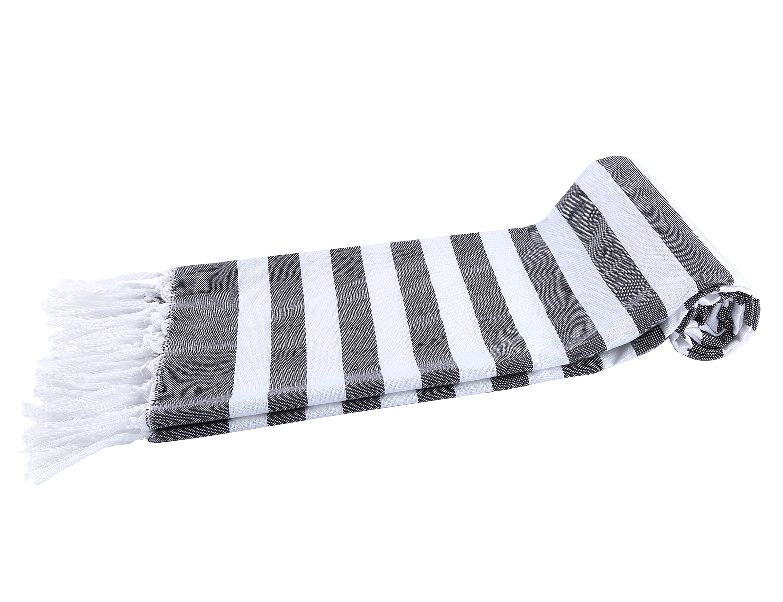 Chama 100% Cotton Extra Soft Striped Peshtemal Fouta Turkish Beach Towels Wrap Bath Towel Oversized Blanket for Baby Home Family Traveling Pool Scarf Towel Absorbency (Black&white stripes)