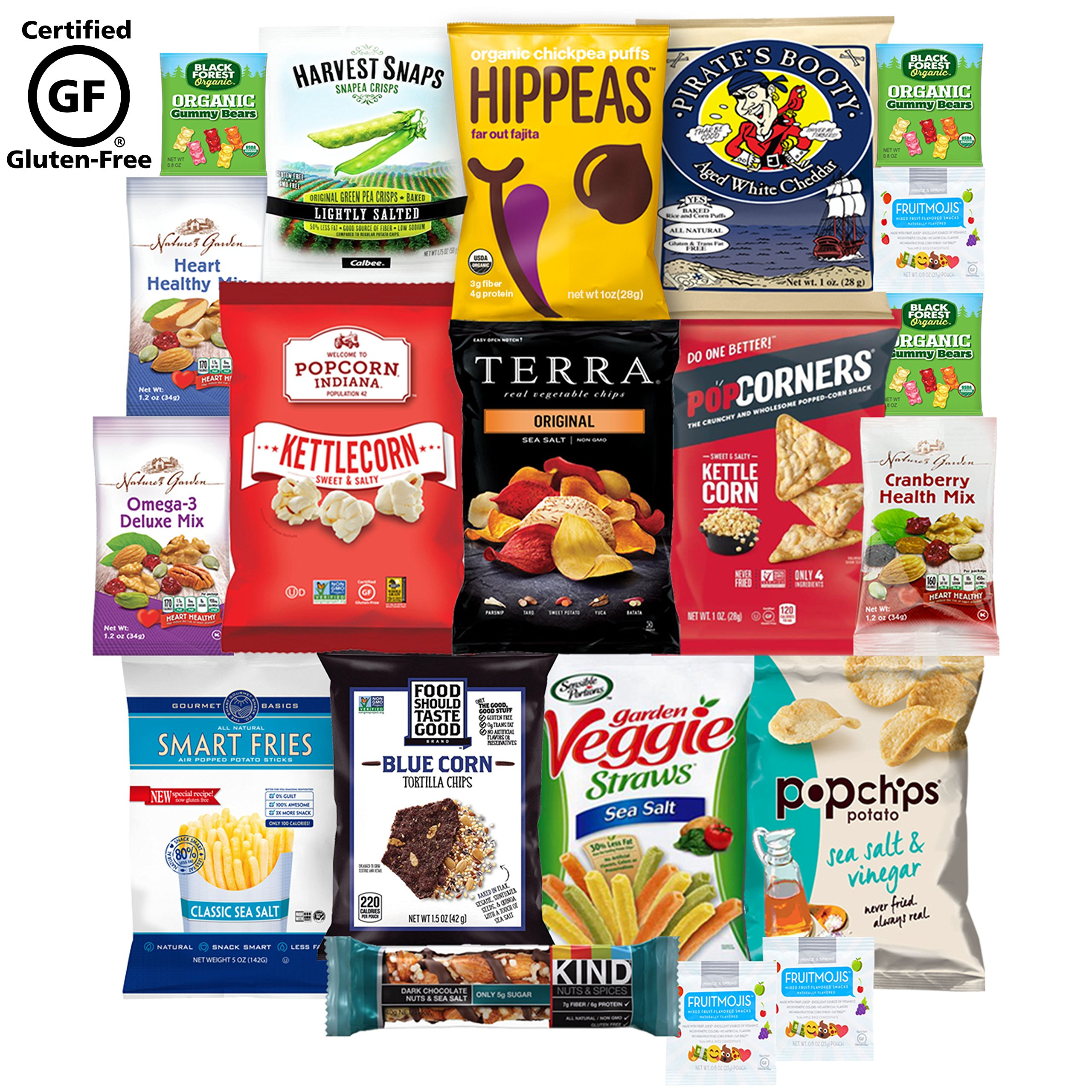 Gluten Free Healthy Snacks, Mixed Premium Set of Snacks Includes Veggie, Popcorn and Gummy Snacks Care Package(20 Count)