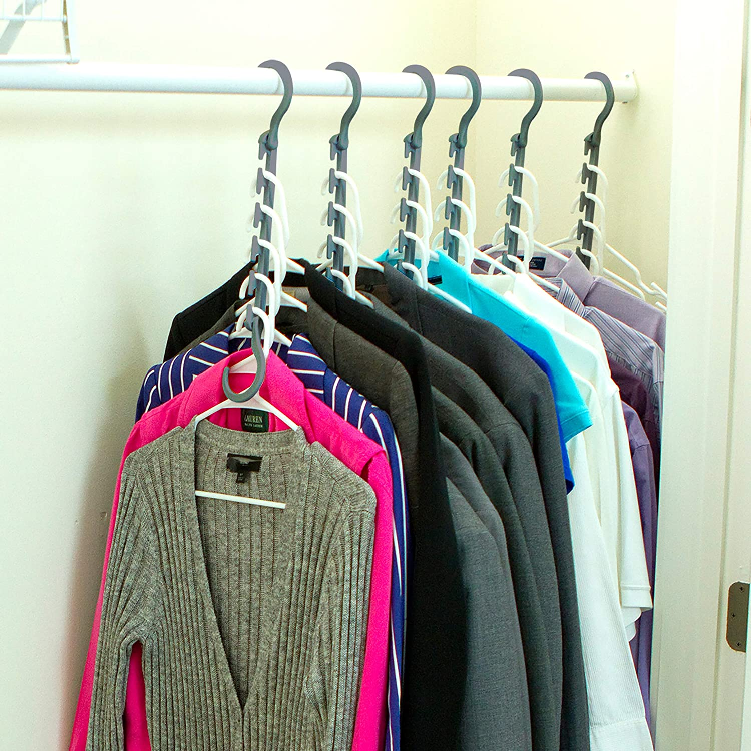 Pack of 8- Triple The Closet Space for Easy Comes Fully Assembled Grey Wonder Hanger Max New /& Improved Effortless Wrinkle-Free Clothes