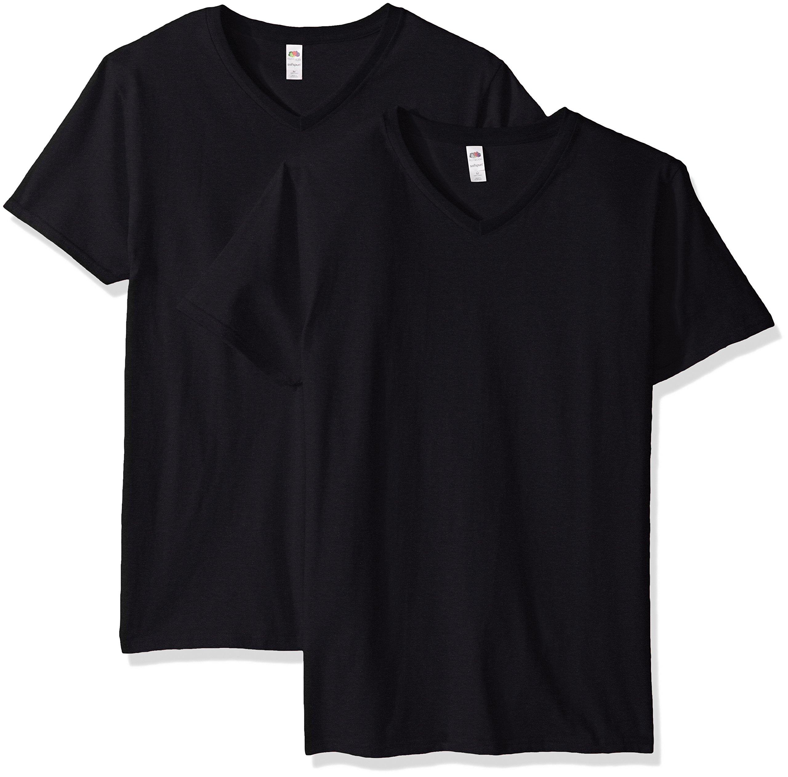 Fruit of the Loom Men's V-Neck T-Shirt (4 Pack), Black, XXX-Large