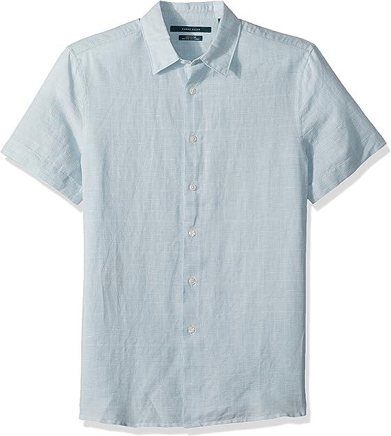 Perry Ellis Mens Short Sleeve Plaid Linen Shirt