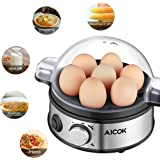 Aicok Egg Cooker, Egg Boiler, Poached Egg, Hard Boiled Egg Cooker, Rapid Egg Cooker, Scrambled Eggs, or Omelets with Auto Shut Off with 7 Egg Capacity, Stainless Steel Egg Steamer, Timer Knob