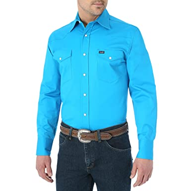 9ac85742 Wrangler Men's Premium Performance Advanced Comfort Workshirt, Blue, Small