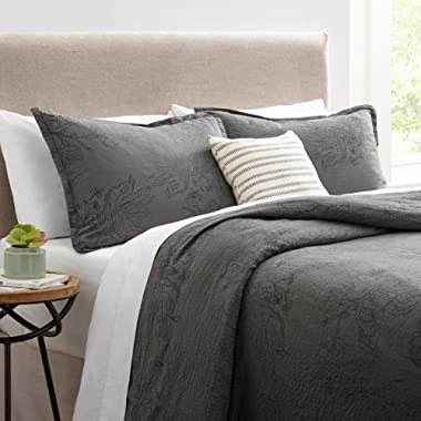 Stone & Beam Farmhouse Distressed Seersucker Duvet Cover Set, Soft and Easy Care, Full/Queen, Grey and Blue