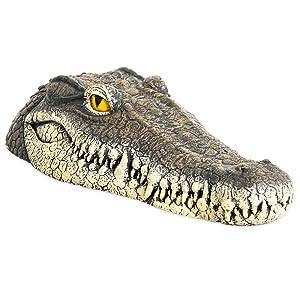 Homarden Floating Crocodile Head Water Decoy (13 x 6 x 3 Inches) - Garden or Pond Art Decor for Goose, Predator, Heron, Duck Control