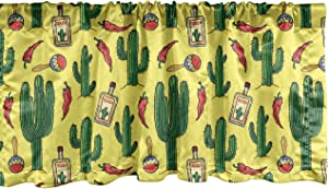 Lunarable Mexican Window Valance, Mexico Theme Cactus Bottles of Tequila Chili Peppers and Maracas Pattern Culture, Curtain Valance for Kitchen Bedroom Decor with Rod Pocket, 54