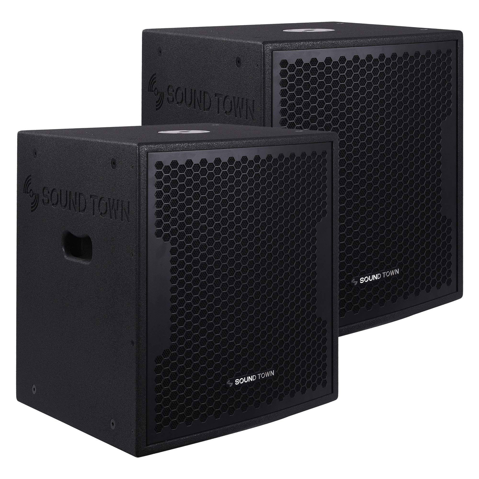 Sound Town 2-Pack 15'' 1000 Watts Powered PA DJ Subwoofers with DSP and Plywood Enclosure, Black (CARME-15SPW-PAIR) by Sound Town