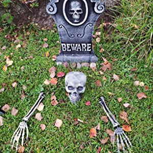Realistic Skull Skeleton Stakes Outdoor Halloween Decorations, 3 Pieces Skeleton Set for Garden Graveyard Yard Lawn Stake, Scary Ground Breaker for Haunted House, Party, Halloween Decor Supplies