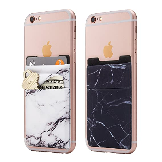 wholesale dealer 35e6d 92eba (Two) Stretchy Marble Cell Phone Stick On Wallet Card Holder Phone Pocket  for iPhone, Android and All Smartphones. (Black/White)