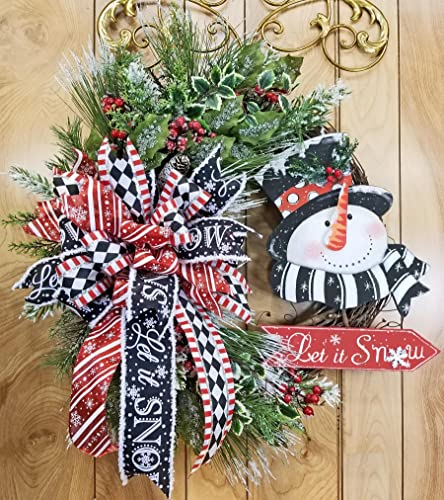 handmade let it snow grapevine wreath whimsical snowman top hat triple bow swag iced