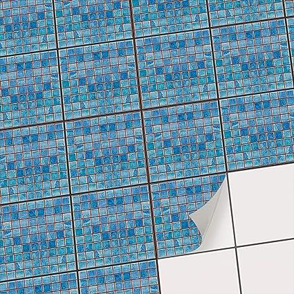 Carrelage Adhesif Mural Mosaique Salle De Bain Et Cuisine I Sticker Autocollant Pour Renover Credence I Carrelage Adhesif Revetement Mural I Design Mosaique Bleu 15x15 Cm 9 Pieces