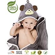 Premium Hooded Baby Towel, 100% Organic Bamboo, Free Baby Bib, Perfect Baby Shower Gift, 35x35  for Newborns Infants Toddlers & Kids, for Boys and Girls at Bath Pool & Beach (Cool Gray)