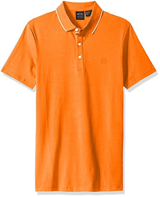 A|X Armani Exchange Men's Core Ax Stretch Jersey Polo, Flame, Small