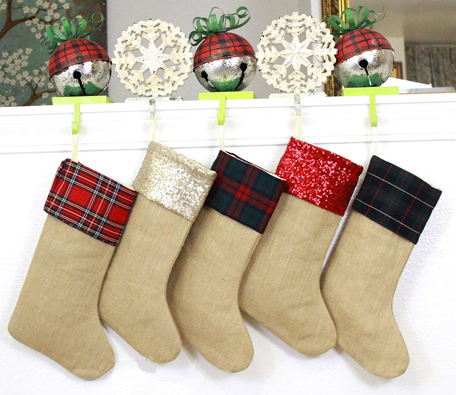 8b5108aba TheButterflyDecorator - Family Christmas Stockings Set of 5 - Made of  Plaids