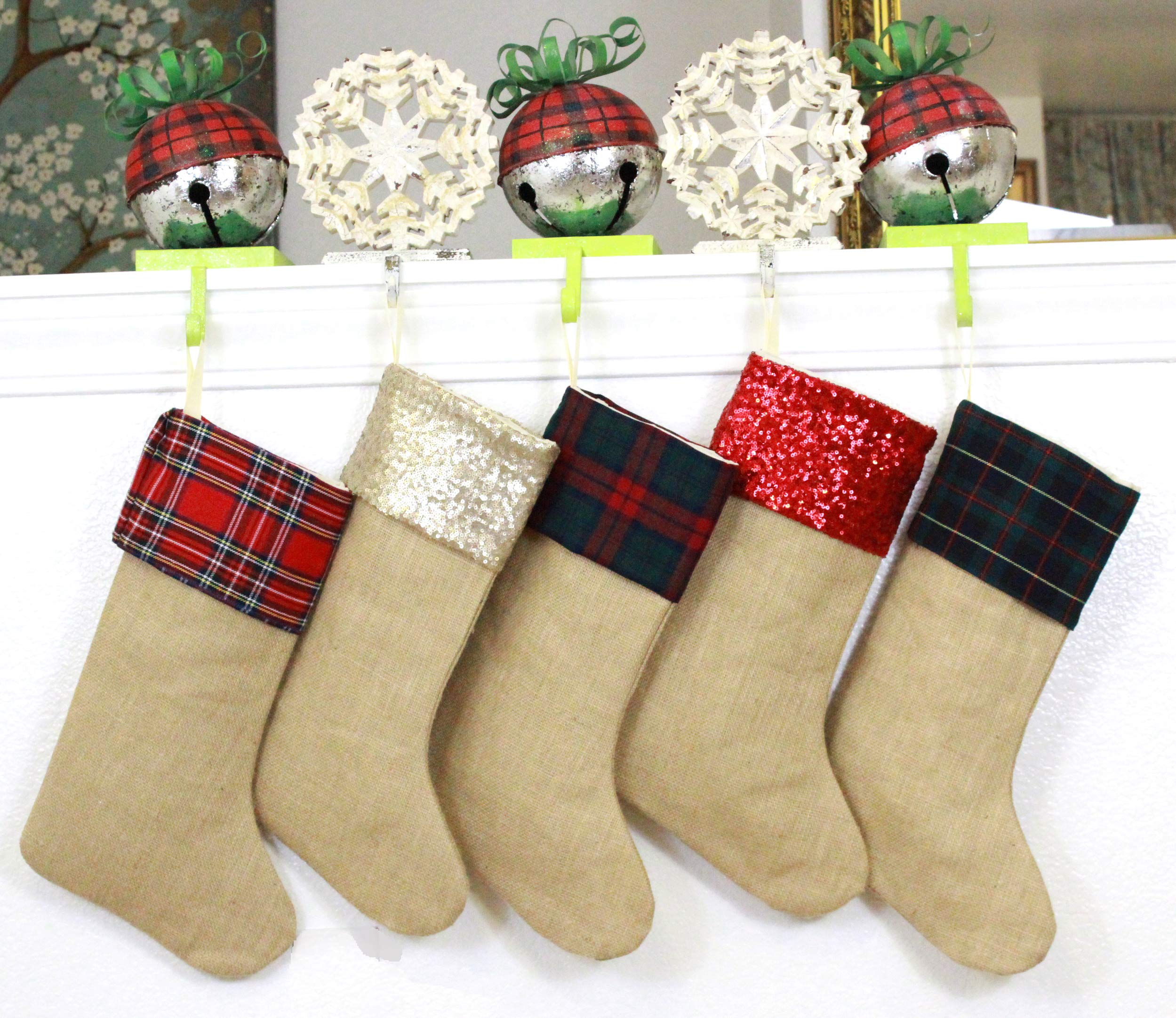 TheButterflyDecorator - Family Christmas Stockings Set of 5 - Made of Plaids, Sequins and Burlap, Durable and Sturdy (Variety of 5, Style 4, [Pack of Five] 6.5'' x 16'')