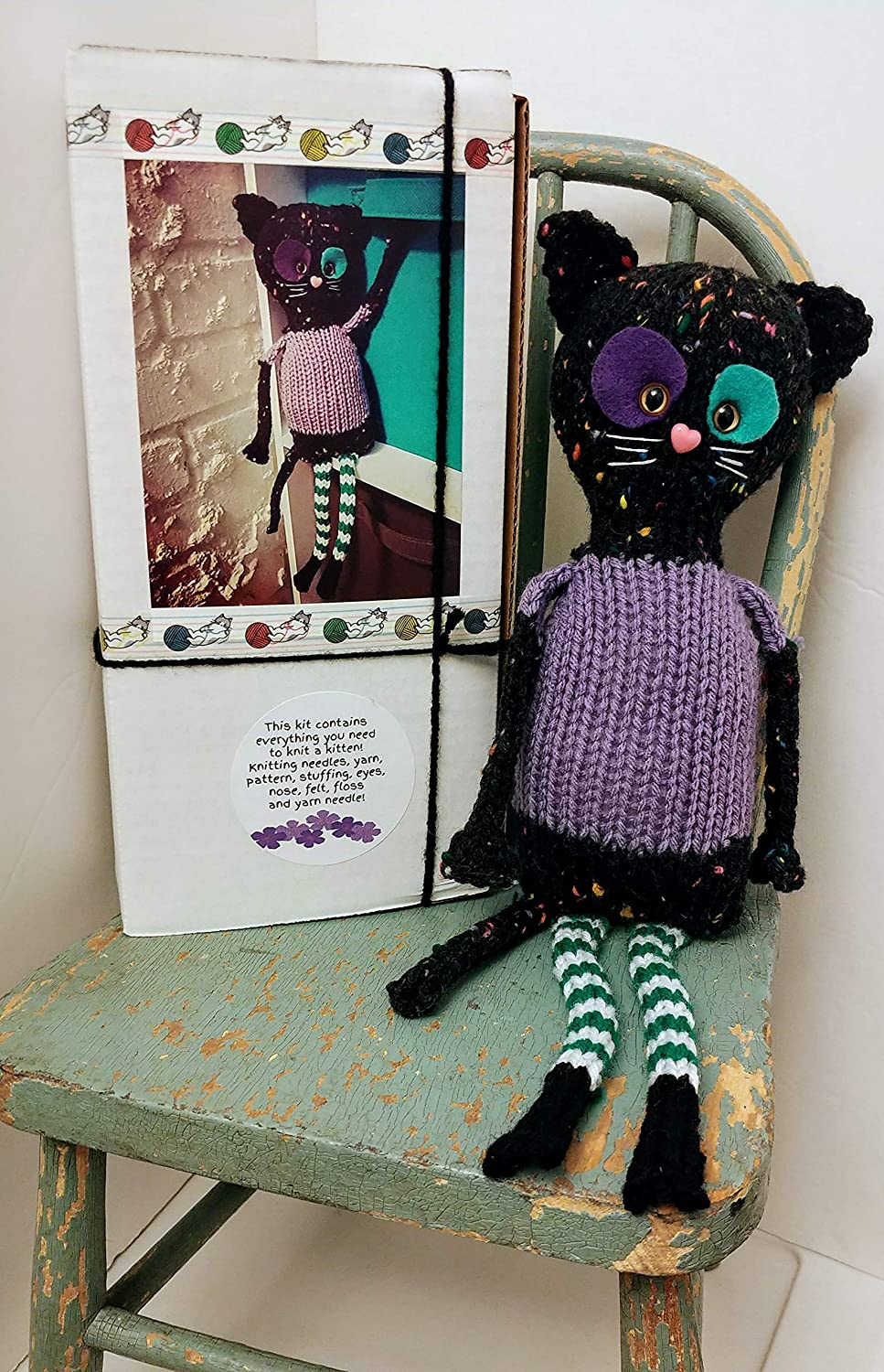 felt Great different knitter gift etc Knit your own Kitty Cat Kitten doll Kit DIY with pattern and knitting needles eyes yarn choose Violet or Milo