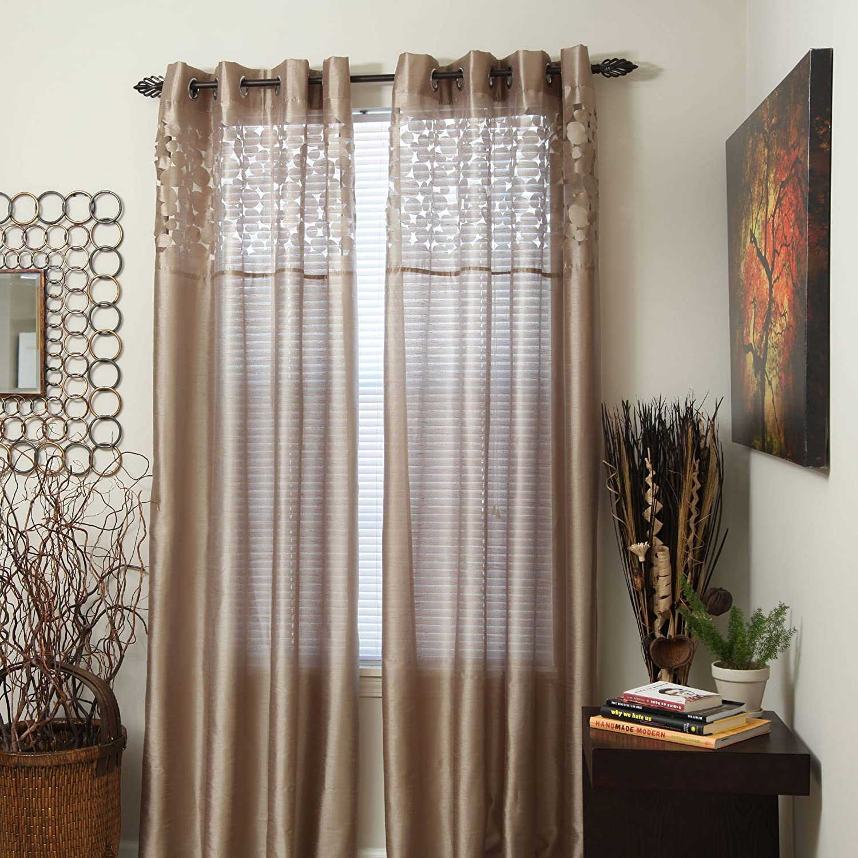 Beige 95-Inch Bedford Home Karla Laser-Cut Grommet Single Curtain Panel