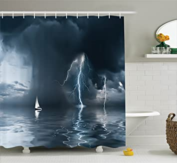 sailboat decor shower curtain set by ambesonne yacht at the ocean comes nearer a thunderstorm with rain and lightning bathroom accessories 75