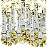 Relaxdays – Conjunto de 10 cañones de confeti, cañón confeti para bodas y cumpleaños, efecto altura de 6 a 8 metro, dorado metálico