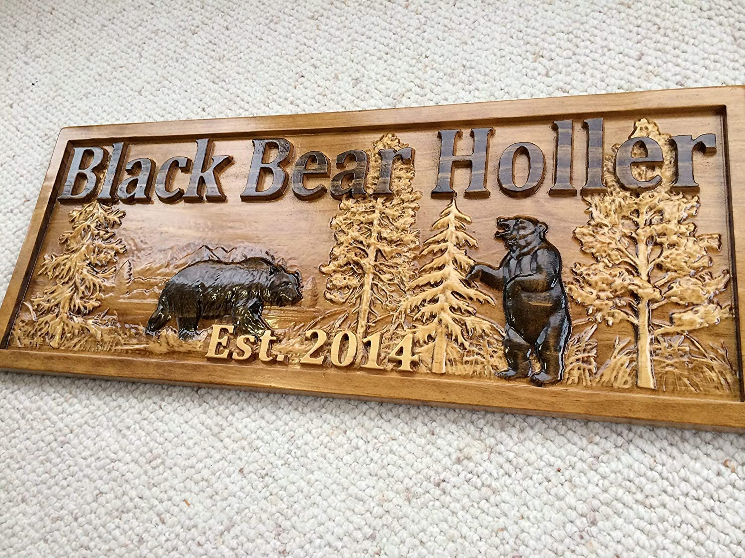 Personalized Wood Sign Custom Carved Cabin Gift Man Cave Wedding Family Last Name Camp Lake House D/écor Woods Black Bear Plaque Last Name Established Sign Custom Wood Sign 3D Camper Sign