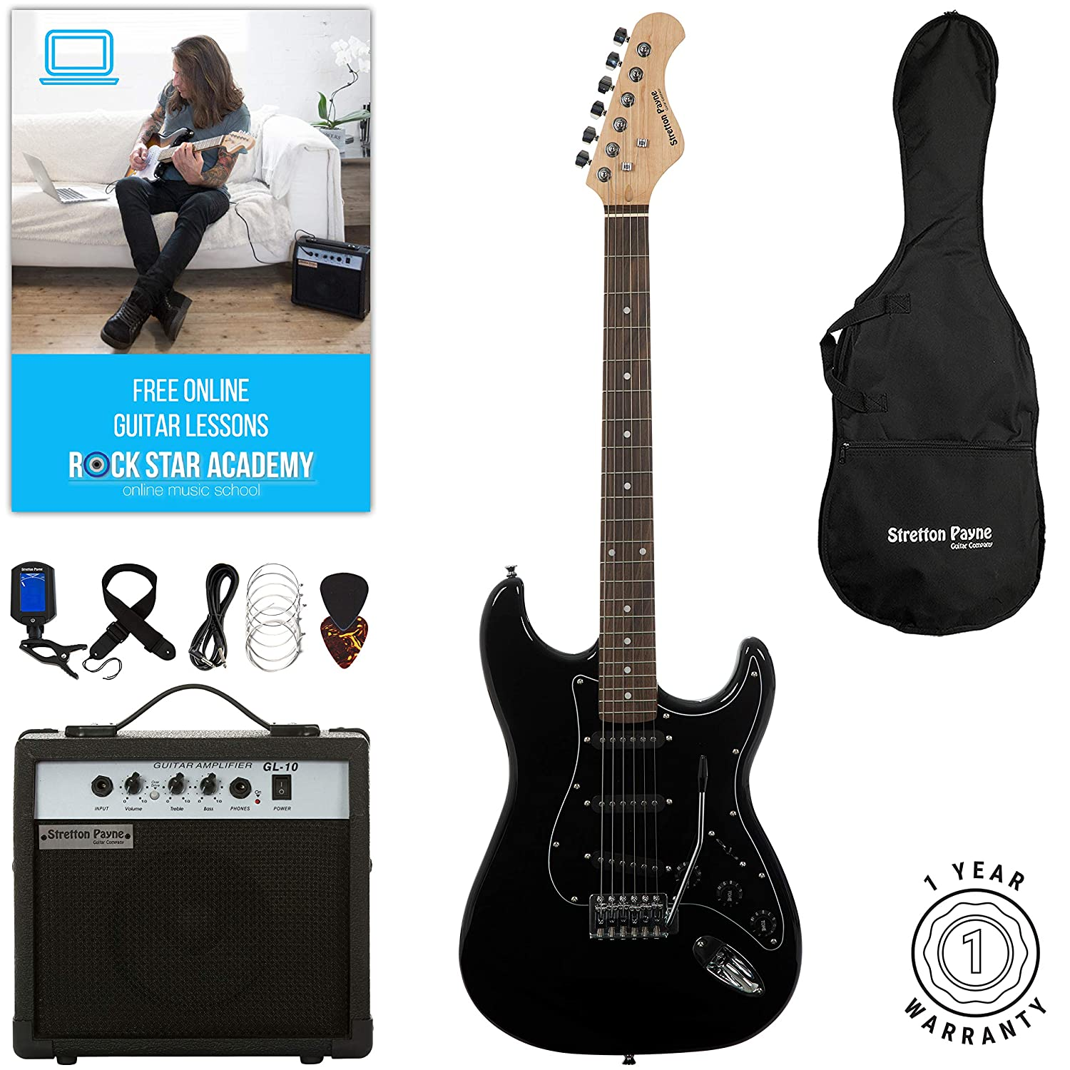 Stretton Payne ST Electric Guitar with practice amplifier, padded bag, strap, lead, plectrum, tuner, spare strings. Guitar in Blue SPESTBL