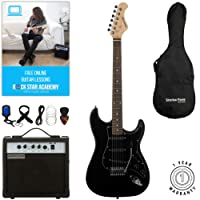 Stretton Payne ST Electric Guitar with practice amplifier, padded bag, strap, lead, plectrum, tuner, spare strings. Guitar in Black with Darkwood Neck