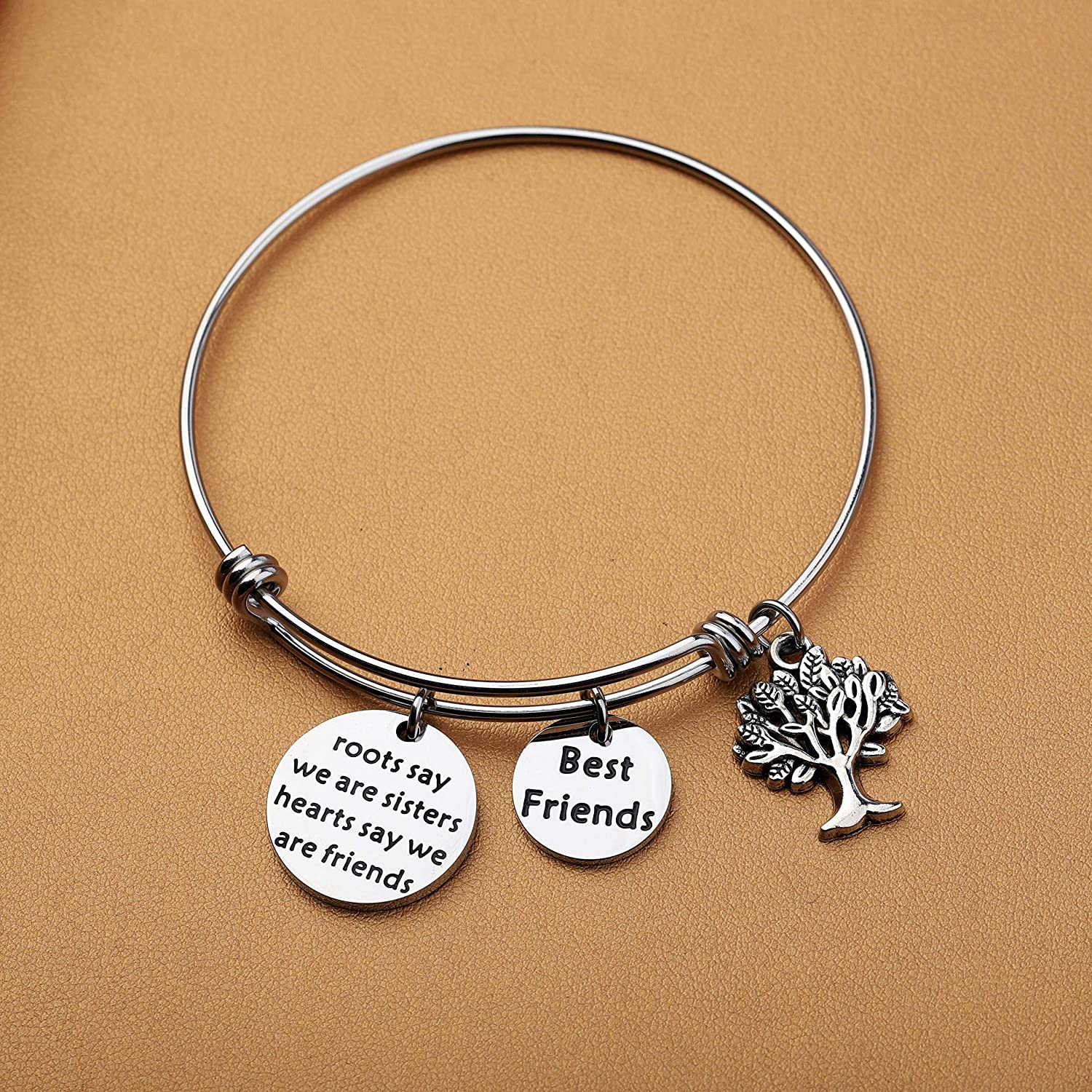 AKTAP Sister Gifts,Sister Bangle Bracelets,Roots Say We are Sisters Hearts Say We are Friends Best Friend Bracelets Friendship Jewelry