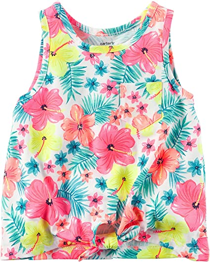 Carters Girls 2T-8 Floral Print Tank Top