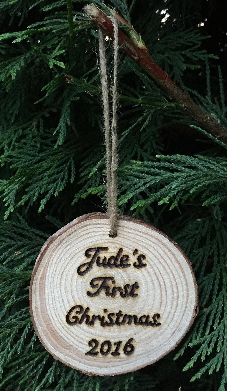 Personalised Santa Wood Slice Decoration Christmas Wooden Tree Decoration