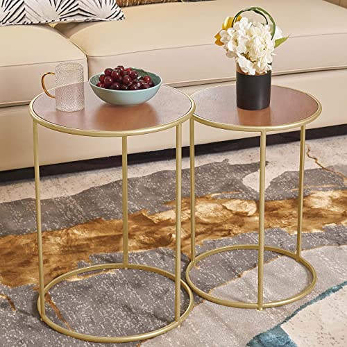 Round Nesting Small Side Tables with Wooden Top, Gold Stacking End Tables for Living Room Bedroom Balcony Set of 2
