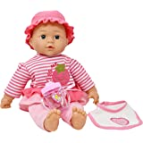 "Dolls To Play 16"" Soft Body Baby Doll with Outfit, Bib and Baby Bottle, Doll Plays 3 Different Baby Sounds"