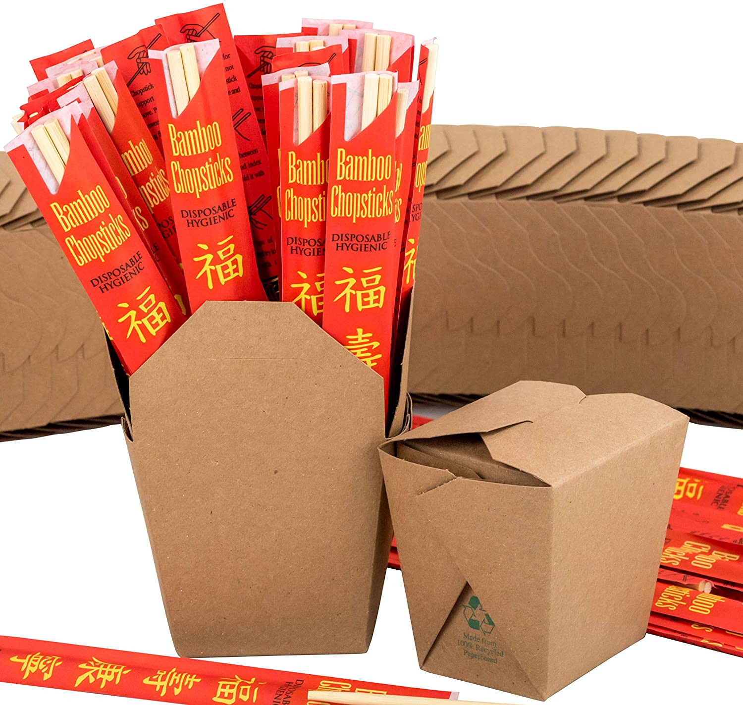 Brown 16 oz Chinese Take Out Box and Premium Bamboo Disposable, Sleeved and Separated Chopstick Set. 25 of Each by Avant Grub. Stackable, Recyclable Leak and Grease Resistant to Go Food Containers